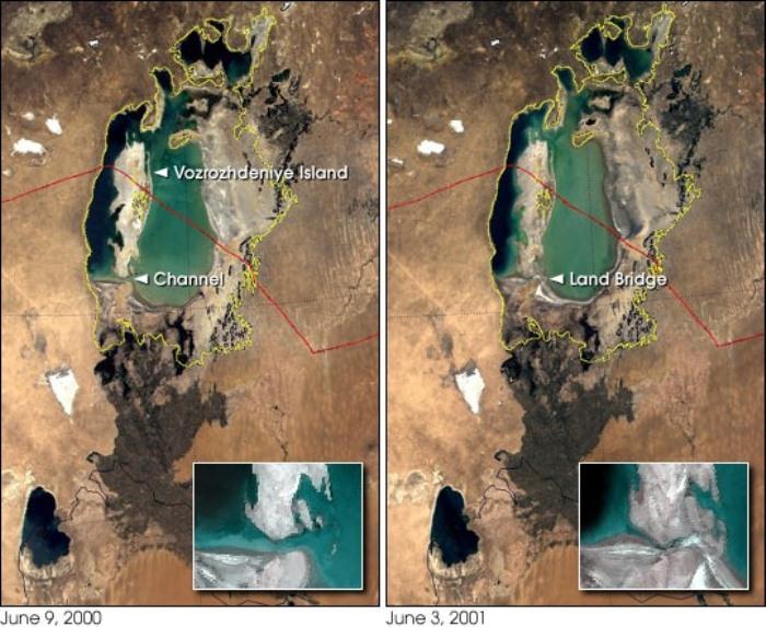 Как пересыхало Аральское море. Изменения 2000 - 2001 гг.