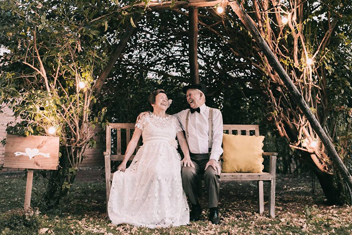 Свадебные фотографии спустя 60 лет после свадьбы.