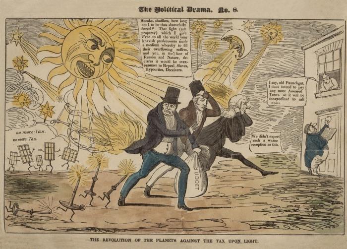 Карикатура: революция планет против налога на свет.