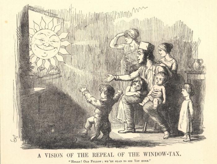 Карикатура: Семья в ожидании отмены оконного налога.