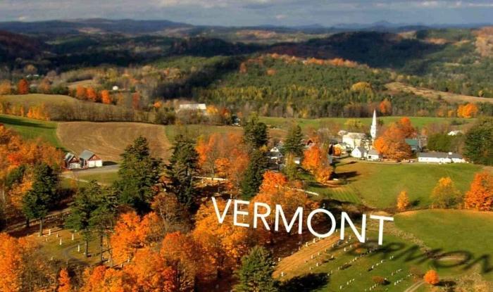 Штат Вермонт в Америке.