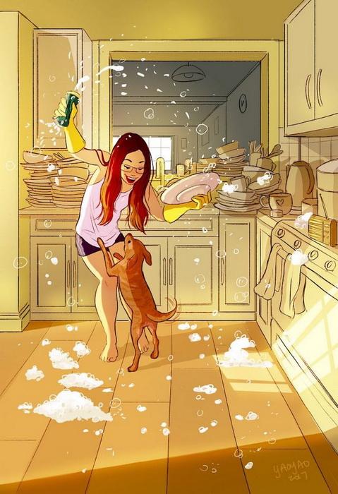 Даже простое мытье посуды может превратиться в пенную вечеринку.