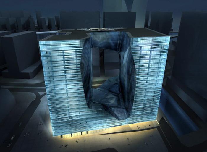 Opus Office Tower напоминает куб, парящий в воздухе