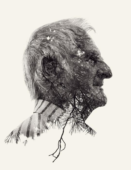 Сухие ветви, сосновые иголки и старый человек стали одним целым в фотоработе Christoffer Relander