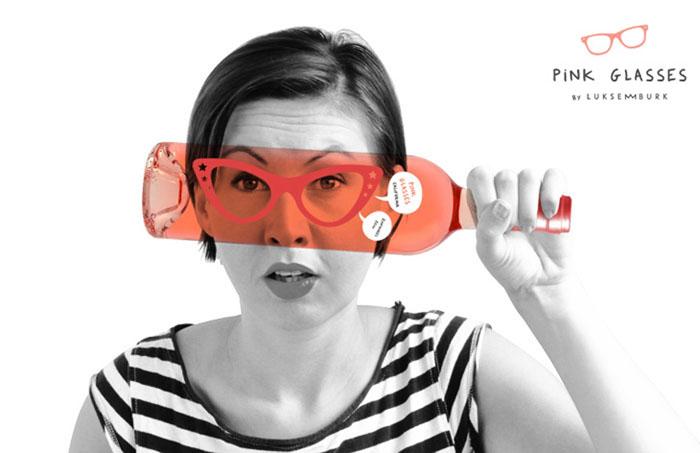 Дизайн *Pink Glasses* для бутылки вина в минималистском стиле от Luksemburk