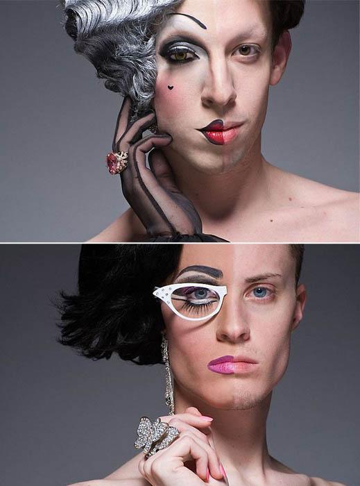 Настоящие лица трансвеститов в проекте Half-Drag от Leland Bobbe