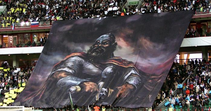 Перфоманс к матчу Россия-Уэльс. Москва, 2008 год.