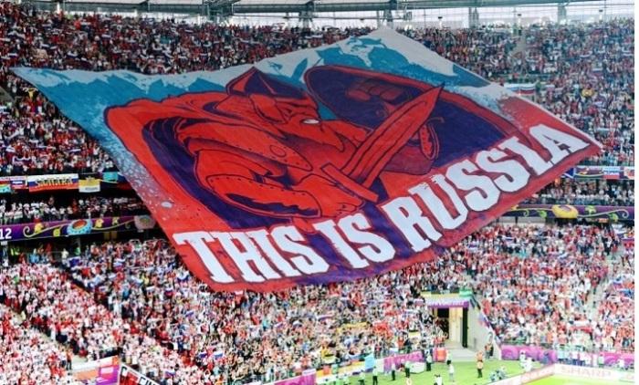 Баннер болельщиков на матче сборных, Россия - Польша. Варшава, 2012 год.