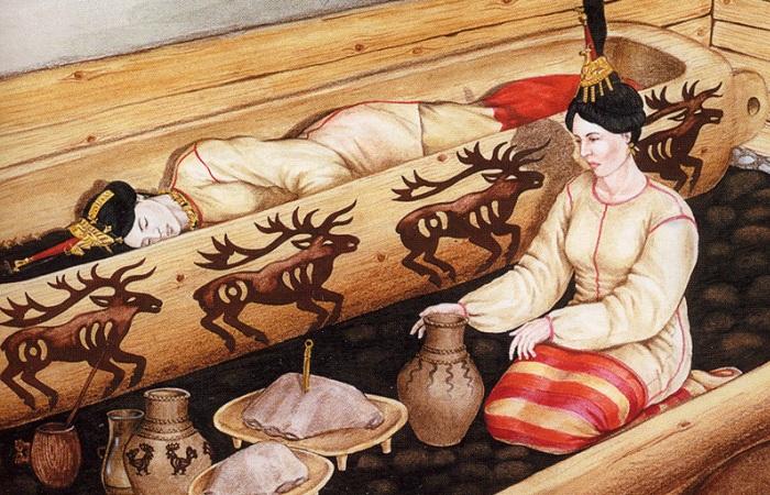 Реконструкция погребения «Алтайской принцессы».