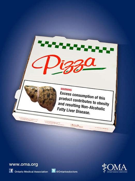 Надпись на коробке пиццы из фастфуда: «Избыточное потребление этого продукта ведет к ожирению и увеличению печени»