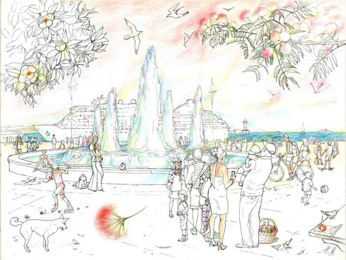 """Наталья Муравская. Иллюстрация. """"Ялта. У фонтана"""""""