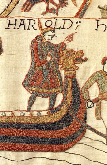 Английский король Гарольд II на гобелене из Байе