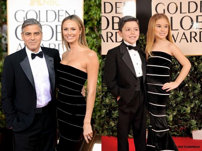 Маленькие копии Джорджа Клуни и его спутницы