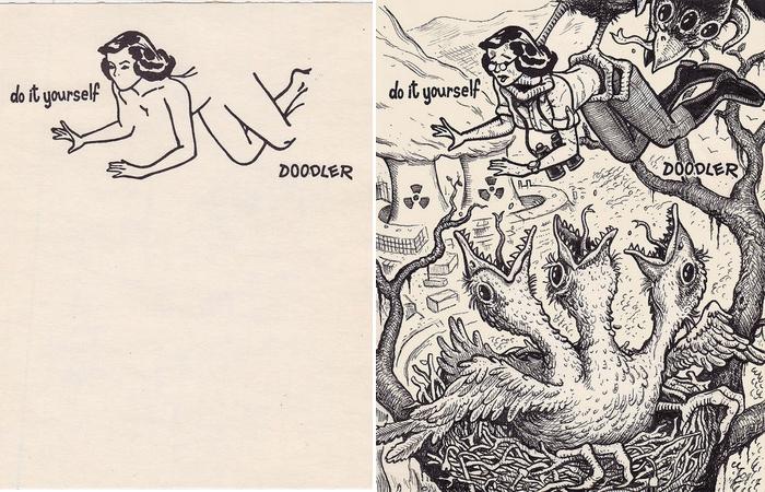 Исходный рисунок и вариация Дэвида Джеблоу