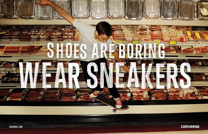 Рекламный плакат, сопровождающий новую рекламную кампанию фирмы Converse
