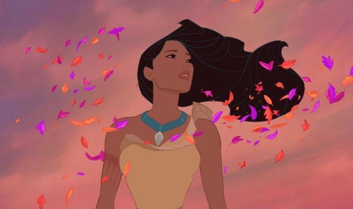 Волосы Покахонтас прекрасно развеваются на ветру.