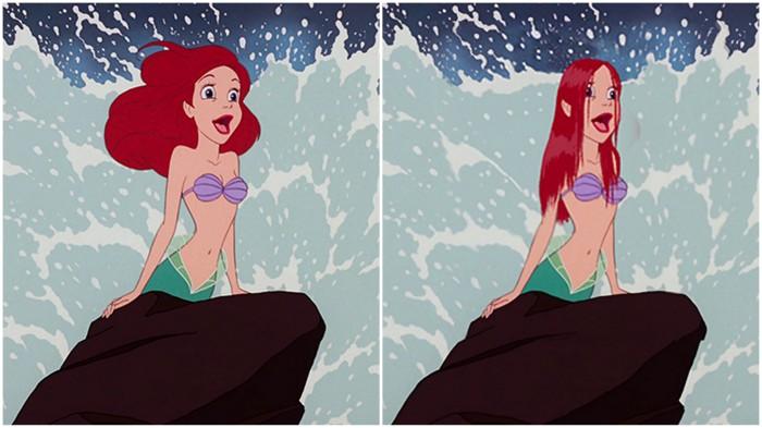 Как бы выглядели диснеевские принцессы с реальными волосами.