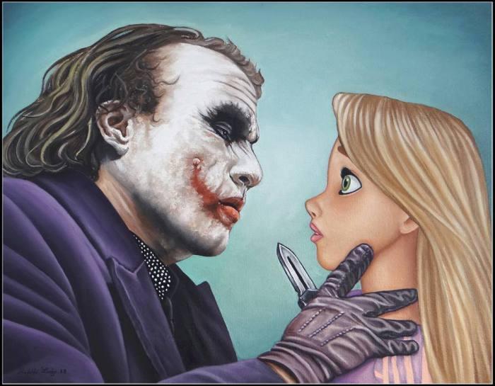 Джокер против Рапунцель. Рапунцель лучше держать ухо  востро; Джокер вряд ли так же очарован молодой леди,  как посетители «Сладкого утенка».
