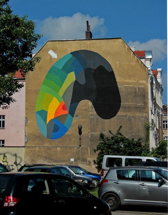 Оригинальные абстрактные рисунки на городских стенах