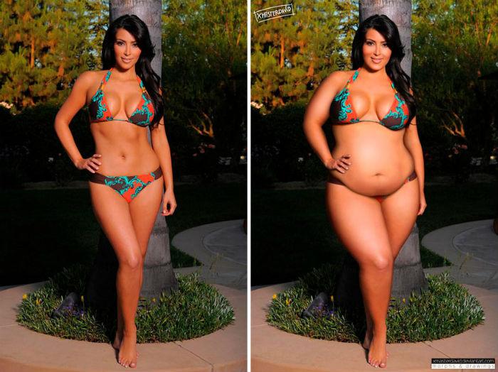 Располневшие знаменитости: смелый эксперимент с фотошопом. Kim Kardashian