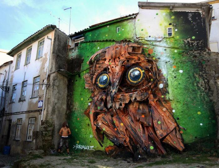 3D-граффити из мусора от португальского художника Bordalo II