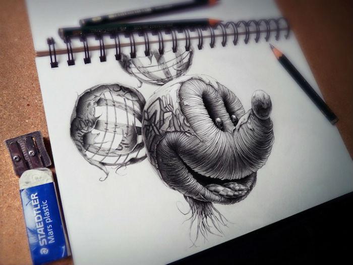 Микки Маус в оригинальной серии работ от французского иллюстратора