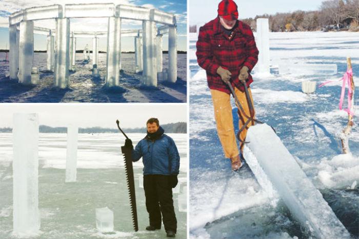 Для постройки гигантской ледяной скульптуры друзьям понадобился лёд озера Рок-Лейк