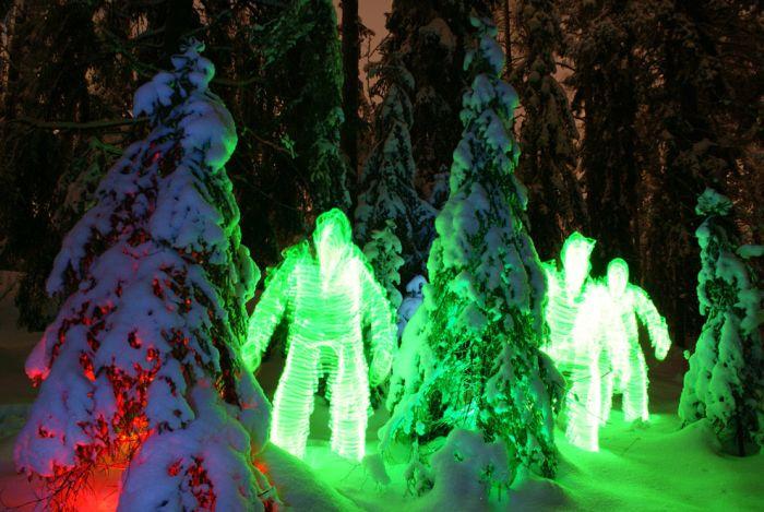 Световые эффекты Янне Парвиайнена в ночном лесу