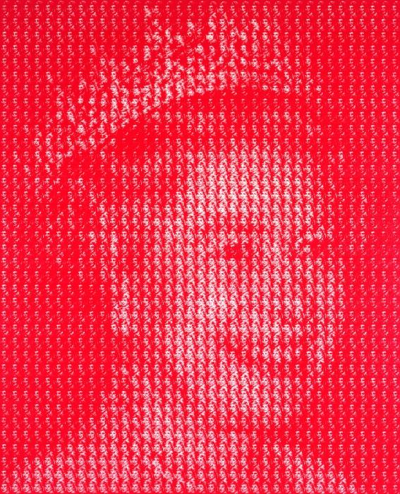 Изображение королевы Елизаветы, состоящее из миниатюрных портретов леди Ди
