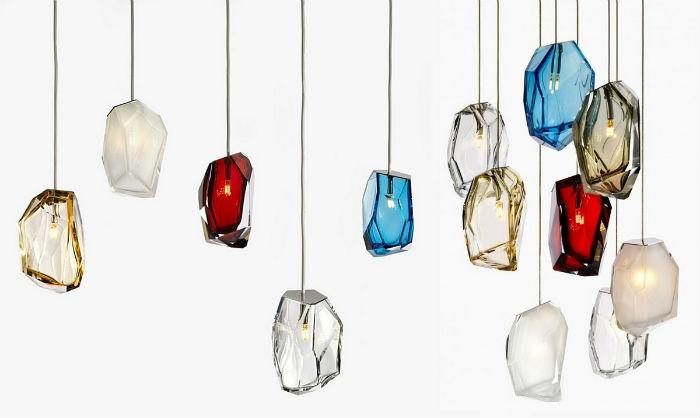 На миланской выставке Emotions show публике впервые была представлена оригинальная серия светильников в форме драгоценных камней от дизайнера Арика Леви