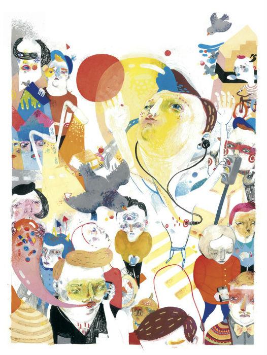 Макс собирает свои драгоценные впечатления по крупицам и создает по их мотивам интересные многослойные иллюстрации