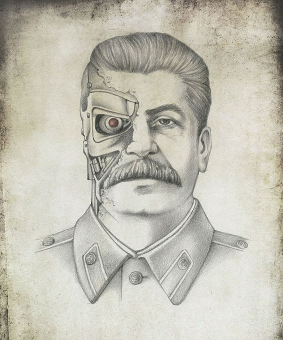 Иосиф Сталин в образе Терминатора