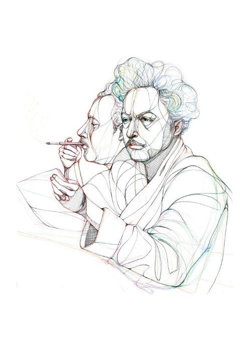 Курт Воннегут в исполнении английской художницы