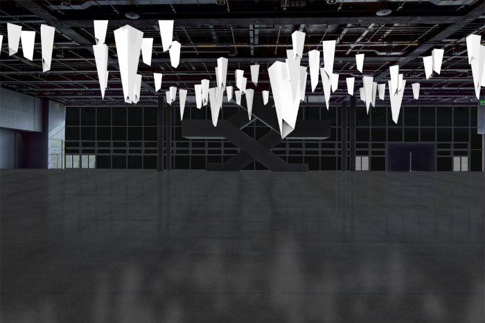 Изготовленная из акрила и стали, со сложной системой встроенных светодиодов, Triangular Series реагирует на каждое движение человека, меняя интенсивность освещения