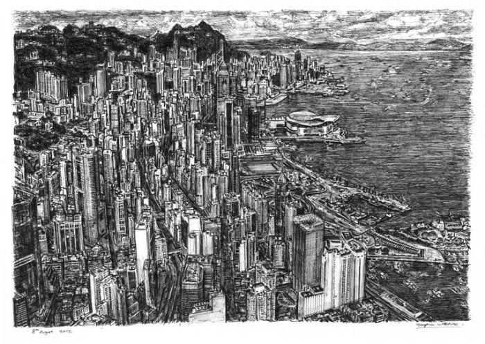 Панорама Гонконга. Потрясающие работы британского художника