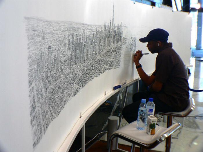 Художник воспроизводит по памяти панораму Гонконга