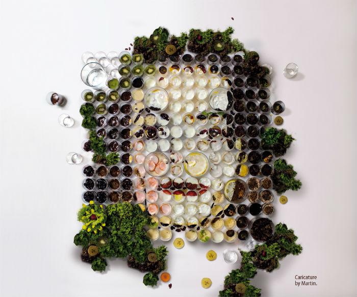 Портрет Майкла Джексона, составленный из овощей и фруктов