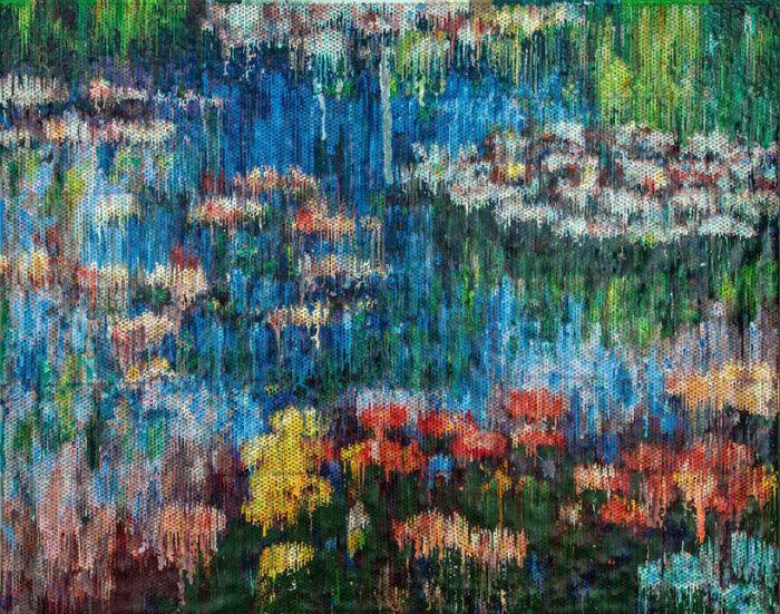 Картина, получившаяся в результате стекания избытка краски по холсту, к которому крепится плёнка