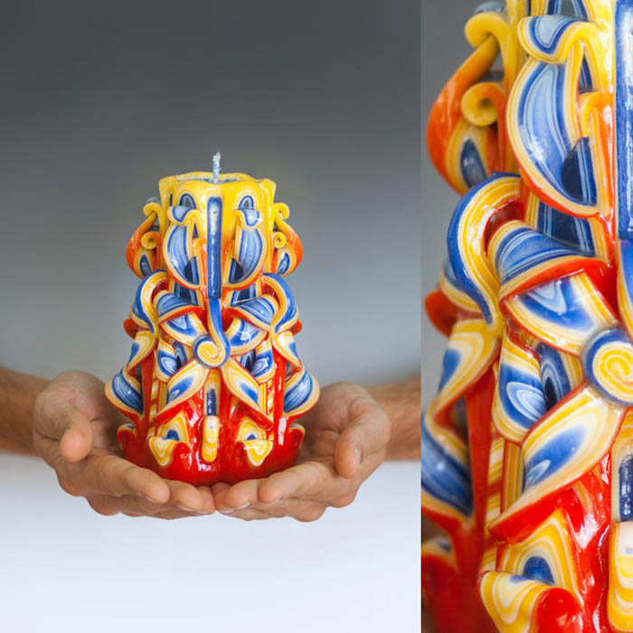 Готовая свеча достигает семнадцати сантиметров в высоту и весит около семисот граммов