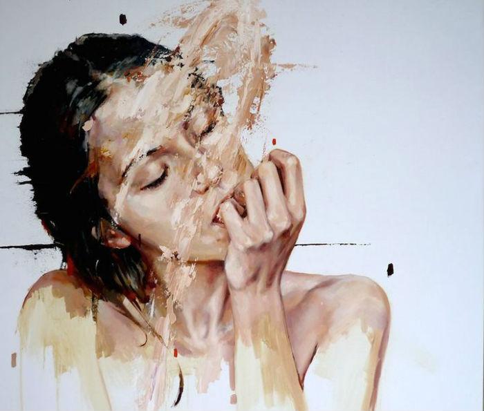 Молодой колумбийский художник Сезар Бьохо (Cezar Biojo) пишет необычные по технике исполнения портреты