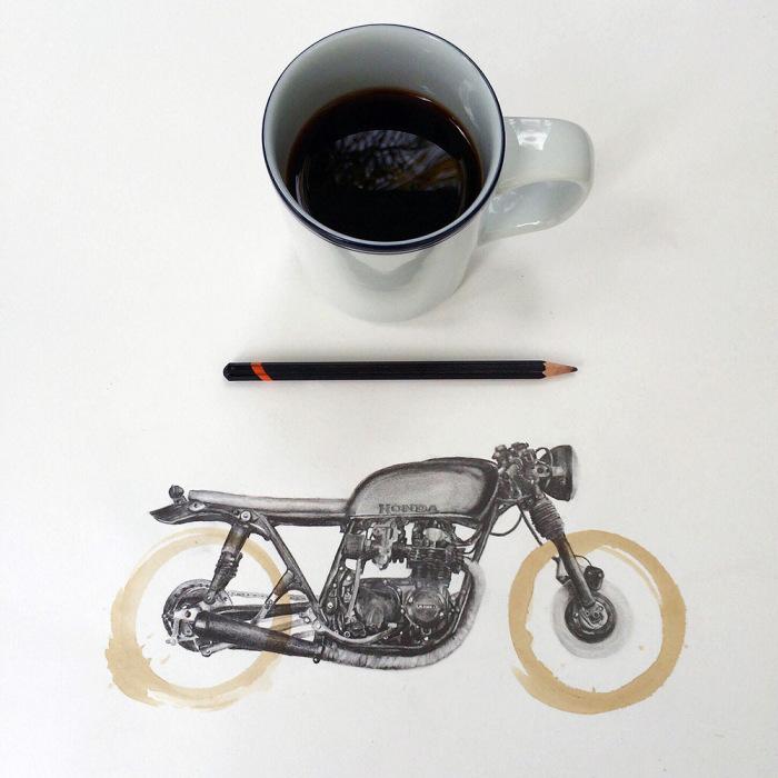 Американский иллюстратор Картер Асман нашёл оригинальный способ обыграть пятна от кофейной кружки
