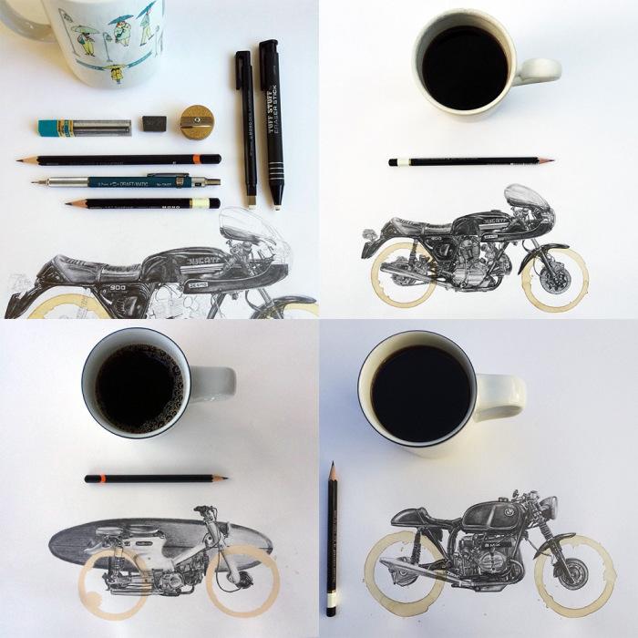 Потрясающие иллюстрации, вдохновлённые следами от кофейной кружки