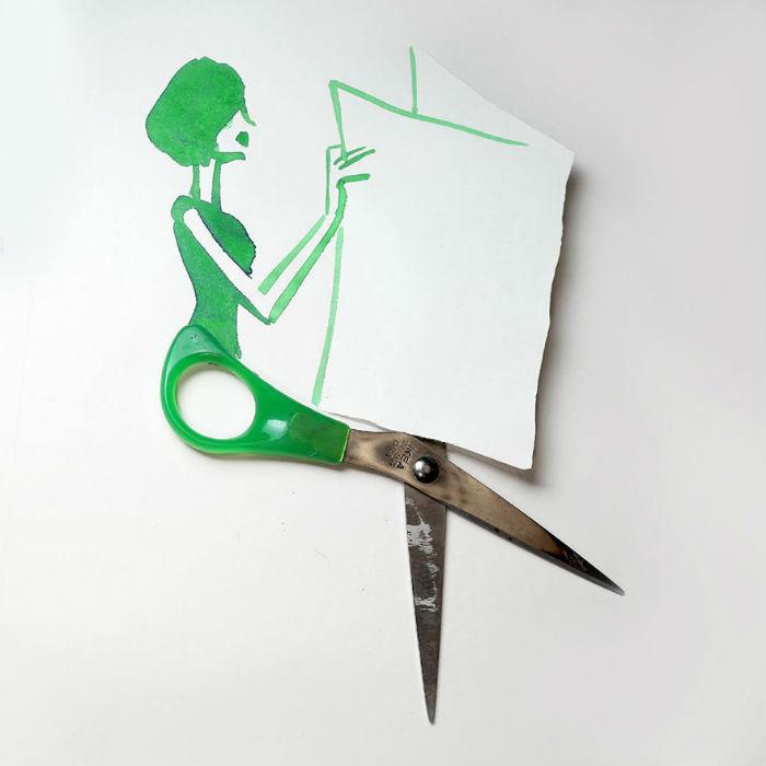 Неманн создаёт прекрасные иллюстрации с использованием мелких бытовых предметов