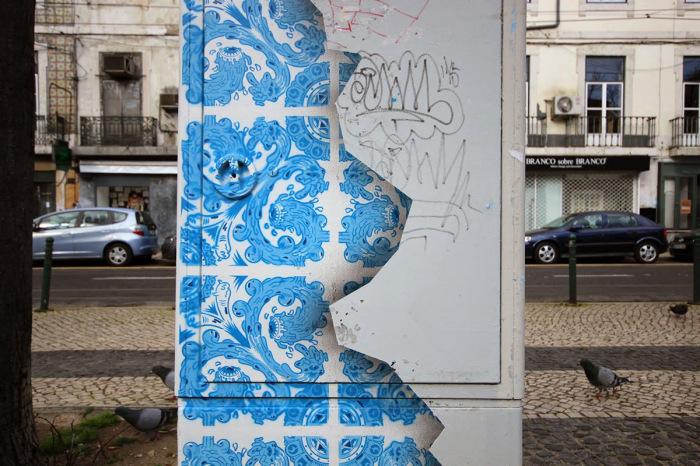 Трёхмерный стрит-арт на обыкновенном электрическом щите