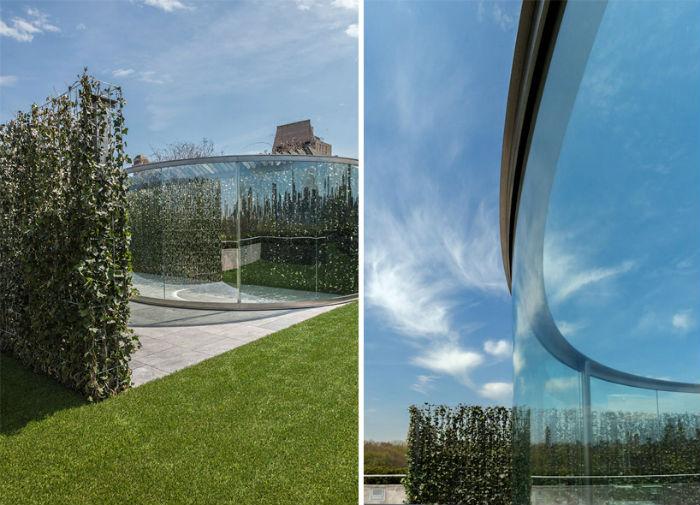 Стальной «павильон» – совместный проект Грэхама и ландшафтного архитектора из Швейцарии Гюнтера Фогта