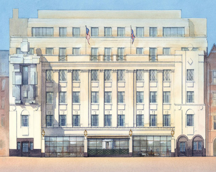 Вид на фасад фешенебельного отеля
