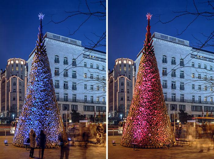 Рождественская ель в самом центре Будапешта оказалась благотворительной инсталляцией