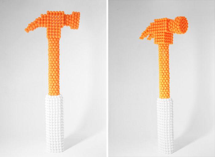 Серия Ping pong sculptures должна, по мнению заказчика, показывать настольный теннис как спортивную игру, и как метафору жизни одновременно