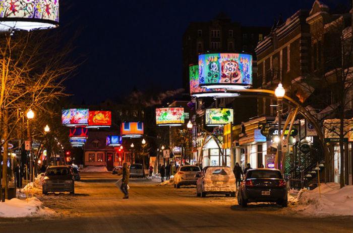 Оригинальная световая инсталляция в Квебеке