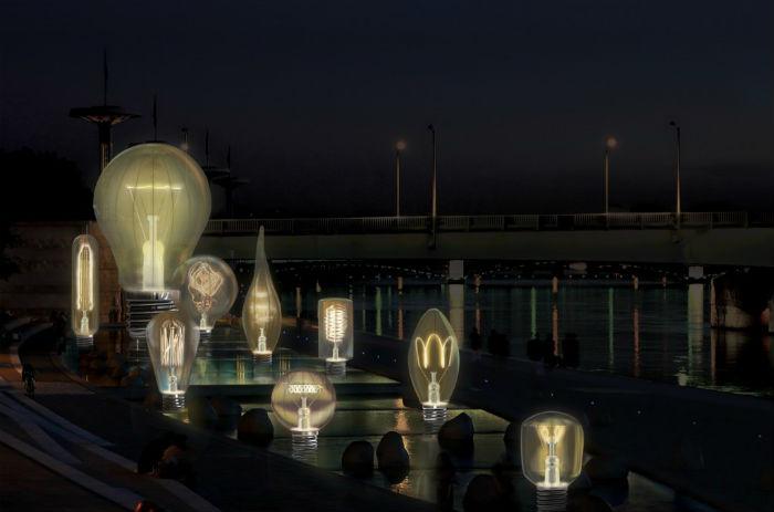 Составили инсталляцию под названием Incandescence девять огромных лампочек различных форм